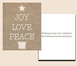 Christmas Cards Burlap Joy Love Peace Holiday Greeting Cards Religious Religion Tan Reason For The Season (24 pack)