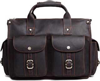 "NYDZDM Office Magnetic Button Briefcase Handbag Retro Style Leather Business 16"" 15"" 14"" Netbook Holder Messenger Crossbody Satchel Bag"