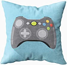 TOMWISH Hidden Zippered 20X20Inch Video Game Controller Icon Grey in Flat Long Shadow Blue Background Gamepad Decorative Throw Cotton Pillow Case Cushion Cover for Home Decor