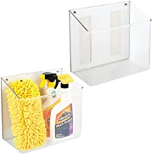 mDesign Wall Mount Plastic Home Storage Organizer Holder Tray Basket with Self Adhesive Tape - Hanging Bin for Walls/Doors...