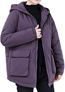 Women's Thick Warm Jacket, Loose Casual Hooded Zipper Cotton Suit, Winter Thick Warm Solid Color Parker Coats (Color : Purple, Size : XXL)