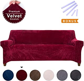 ACOMOPACK Sofa Cover for 3 Cushion Couch Velvet Stretch Couch Cover Recliner Chair Cover Couch Slip Covers for Furniture Sofa Loveseat Cover Protector (Sofa, Wine red)