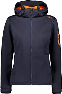 CMP Women's Softshell Jacket windfree and Waterproof, B.Blue Mel-Orange Fluo, 14