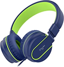 Elecder i36 Kids Headphones Children Girls Boys Teens Foldable Adjustable On Ear Headphones 3.5mm Jack Compatible iPad Cellphones Computer Kindle MP3/4 Airplane School Tablet Blue/Green