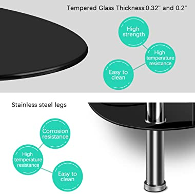 Nidouillet 3 Tier Tempered Glass Table with Glass Shelves and Stainless Steel Legs, Oval-Shaped Coffee Table Living Room Home