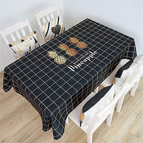 Woonn Decoratie voor restaurant, tuin, hotel, katoenen doek, tafelkleed, ananas, hekwerk middelgroot, zwart