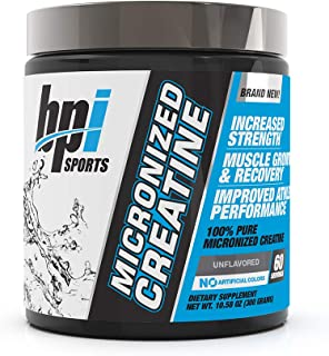 BPI Sports Micronized Creatine - Increase Strength - Reduce Fatigue - Lean Muscle Building - 100% Pure Creatine - Better Absorption - Supports Muscle Growth - Unflavored - 60 Servings - 10.58 Ounce