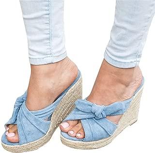 Mafulus Womens Espadrille Wedge Sandals Peep Toe Summer High Heeled Platform Slide Sandal