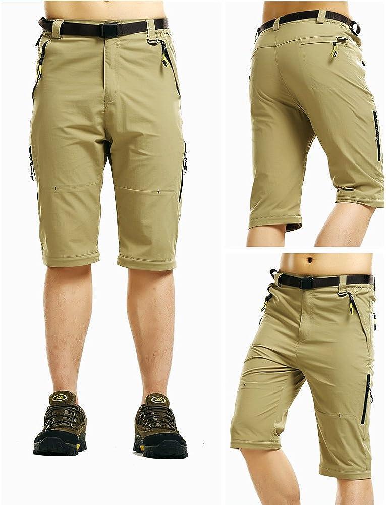 Rmine Pantalones de trekking con cremallera desmontables y de secado r/ápido con cintur/ón