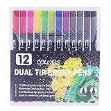 100 colores bolígrafos de colores doble punta pincel rotulador pluma color de agua fino revestimiento marcadores de arte para colorear dibujo pintura caligrafía