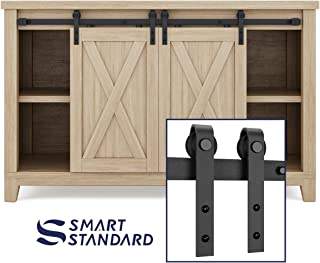 SMARTSTANDARD 4FT Super Mini Sliding Barn Door Hardware Track Kit - Smoothly and Quietly -for Double Opening Cabinet, TV Stand, Closet - Fit 12