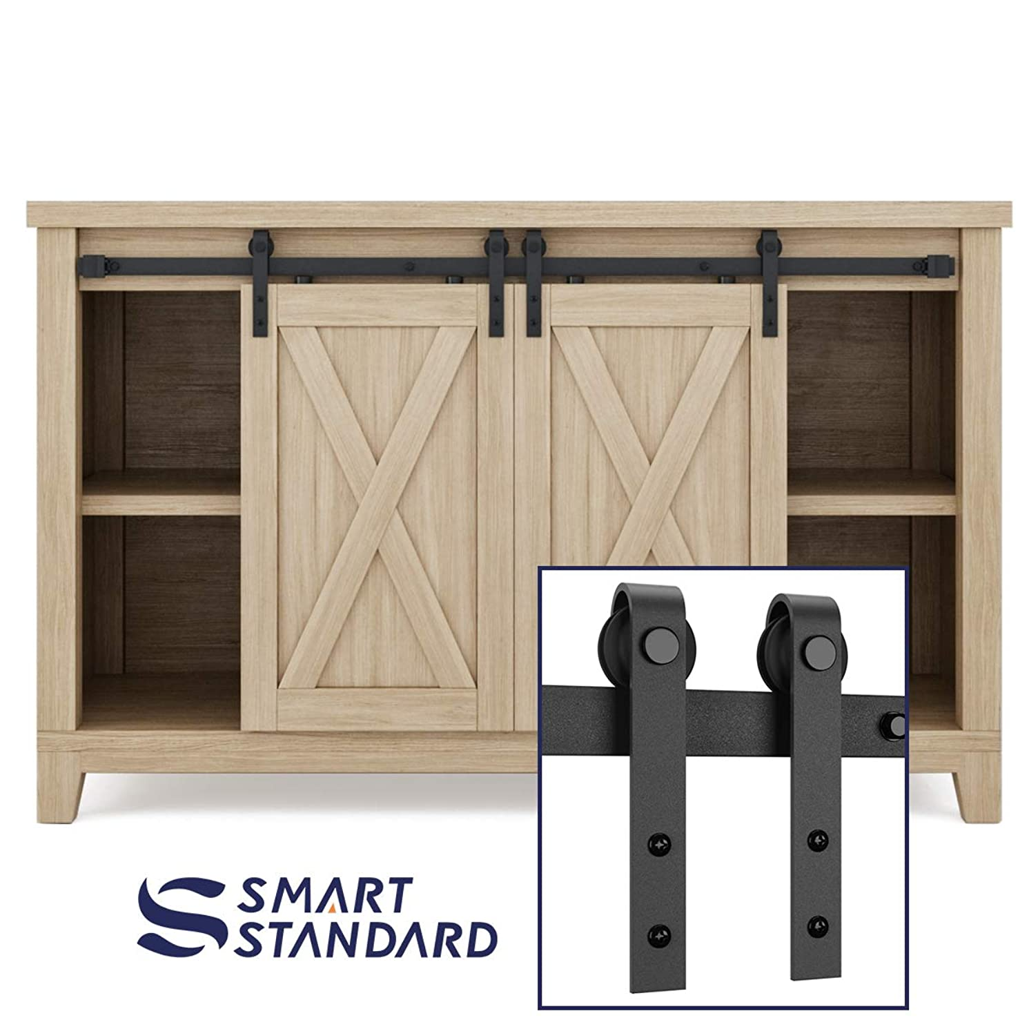 SMARTSTANDARD 4ft Double Cabinet Barn Door Hardware Kit - Super Mini Sliding Door Hardware -for Cabinet TV Stand Console - Simple & Easy to Install -Fit 16