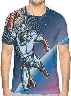 Mens t Shirt Superhero,Fighter Punching Villian HD Print t Shirt