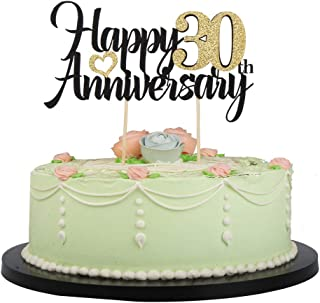 LVEUD Happy Birthday Cake Topper Black Font Golden Numbers Happy 30th Anniversary Birthday Cake Topper-Wedding,Anniversary,Birthday Party Decorations (30th)