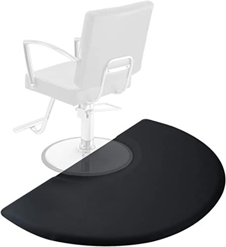Saloniture 3 ft. x 5 ft. Salon & Barber Shop Chair Anti-Fatigue Floor Mat - Black Semi Circle - 7/8 in. Thick
