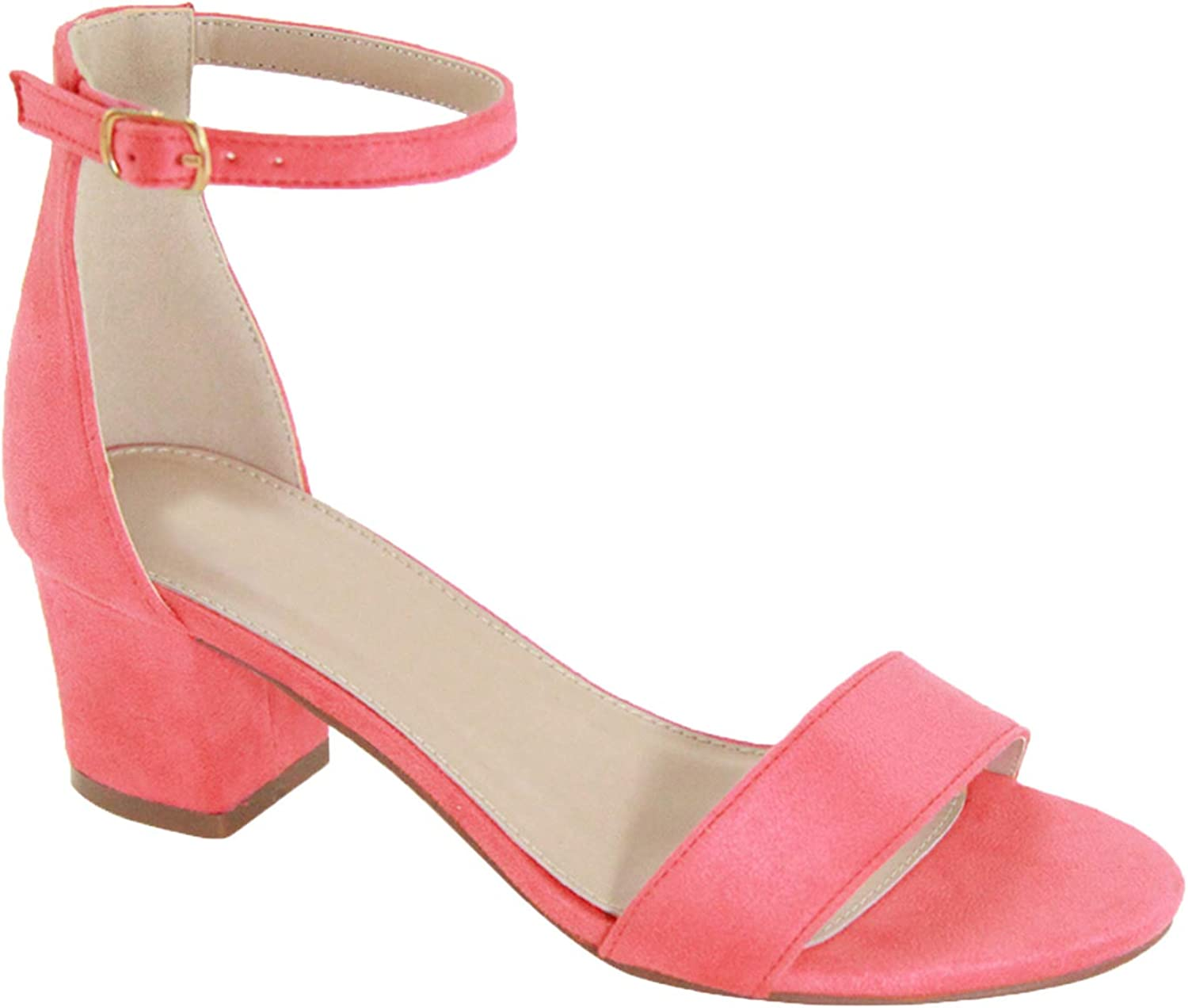 Trends SNJ Women's Year-end annual account Ankle favorite Buckle Stappy Block Open Toe Chunky Mid