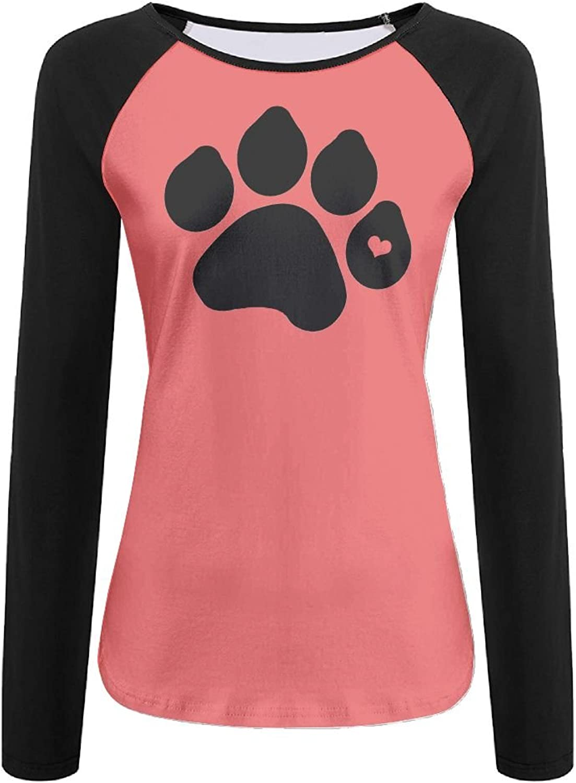 Women's Long Sleeves Tshirt Raglan Dog Paw 3D Digital Casual Top
