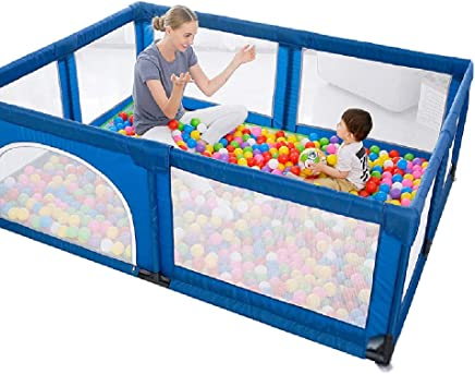 Playpen YXX- Baby for Twins  Infants Toddler Safety Play Yard  8-Panel Boy Playard with Anti-Skid Pads  amp  100 Balls  Easy Assembly  Color Blue  Size 150 180 70cm