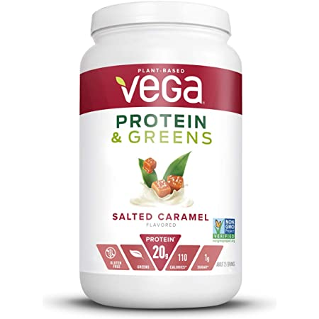 Vega Protein and Greens, Salted Caramel, Plant Based Protein Powder Plus Veggies - Vegan Protein Powder, Keto-Friendly, Vegetarian, Gluten Free, Soy Free, Dairy Free, Lactose Free