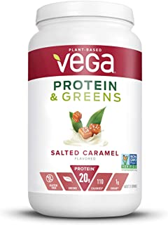 Vega Protein & Greens Salted Caramel (25 Servings, 26.5 Ounce) - Plant Based Protein Powder, Keto-Friendly, Gluten Free, Non Dairy, Vegan, Non Soy, Non GMO - (Packaging May Vary)