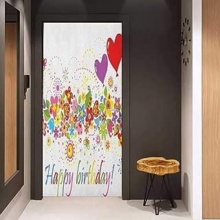 Onefzc Door Sticker Mural Birthday Happy Celebration on Colorful Flourishing Meadow Heart Shaped Balloons Art Print WallStickers W35.4 x H78.7 Multicolor