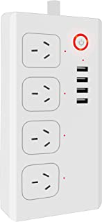 WiFi Smart Power Strips, Surge Protector with 4 USB Charging Ports and 4 Smart AC Plugs, Remote Control via Smartphone, Co...