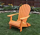 Ecommersify Inc Bright Orange-Poly Lumber Folding Adirondack Chair with Rolled Seating Heavy Duty Everlasting Lifetime PolyTuf HDPE - Made in USA - Amish Crafted
