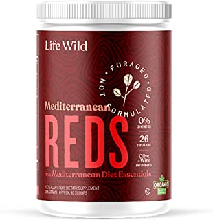 Life Wild Mediterranean Reds Nutritional Supplement | 100% Plant Based Powder Drink w/Organic Beets, Fruits & Berries | Re...