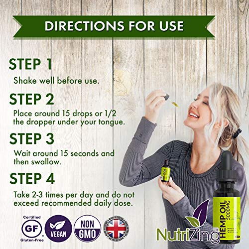 Premium Hemp Seed Oil Drops - Pure & Vegan - Made in UK by NutriZing - Large 30ml Bottle
