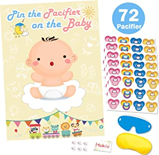 Pin The Pacifier On The Baby Game for Baby Shower Decorations Kids Birthday Party Supplies, Large Baby Shower Games Poster 72 Pacifier Stickers
