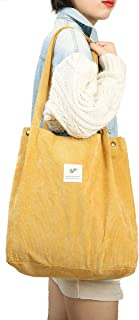 Gophra Corduroy Tote Bag for Women Girls Kids Shoulder Bag with Inner Pocket For Work Beach Lunch Travel And Shopping Grocery(Yellow)