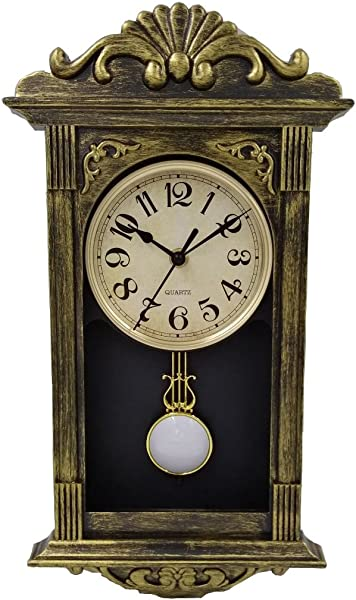 YAVIS Retro Antique Nordic Pendulum Wall Clock Vintage Clock Battery Power 41x22x7cm Brush Gold