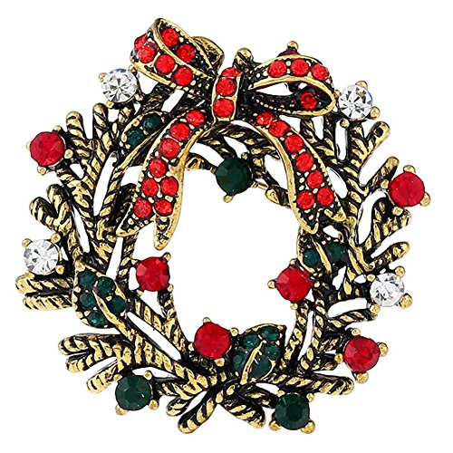 FERVENT LOVE Vintage Gold Christmas Wreath and Bow Rhinestone Brooch Pin for Women