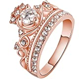 LWLH Women Crown Tiara Ring Princess Queen 18K White/Rose Gold Plated Tiny CZ Bridal Girl Promise Wedding Band Szie 5