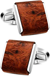 VIILOCK Natural Handmade Rosewood Cufflinks for Men Handcrafted Wooden Square Cuff Links Mens