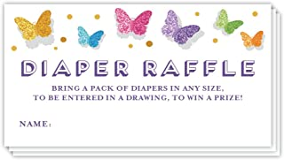 Butterfly Diaper Raffle Tickets Baby Shower Party Game 48 Pack Guest Invite Inserts Butterflies Whimsy Blank Name Card Enter Drawing Win Prize Mommy to Be Gender Reveal Girl 3.5 x 2 inches Digibuddha