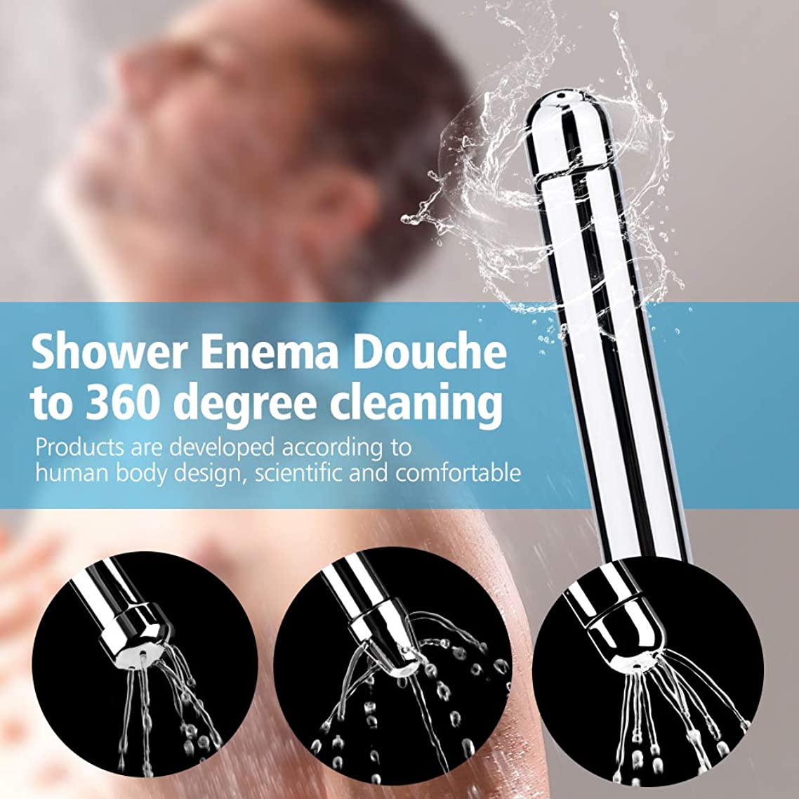 HailiCare Home Shower Enema Nozzle Kits 3 Style Heads Aluminum Vaginal Anal Cleaner Colonic Douche System Cleaner (Enema Nozzle Kits 3 Shower Heads)