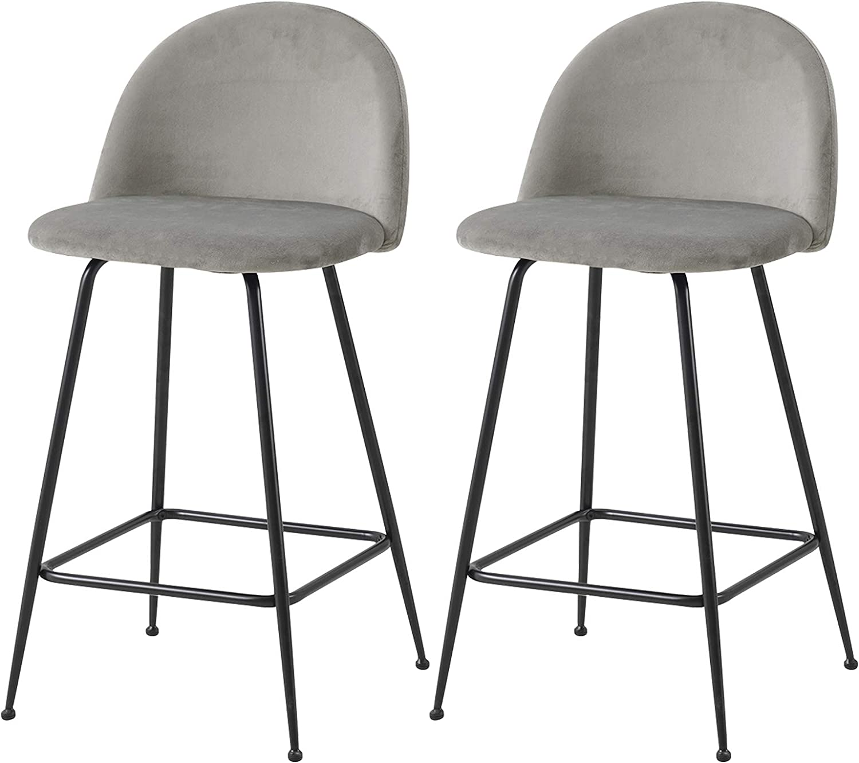 eSituro Bar Stools Light Grey Barstools Set of Solid Metal Legs Bar Stools  for Home Breakfast Bar Counter Kitchen Bar Stools with Footrest & Backrests