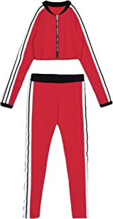 Leezeshaw Women Full Zipper Stripe Activewear Pencil Pants Simple Slim 2Pccs Sweatsuits Set