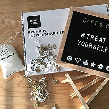 Daft & Co Premium Oak Felt Letter Board 590 White & Gold Characters Emoticons Easel (BLACK)