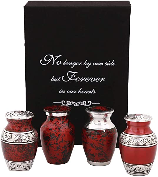 Red Keepsake Urns Beautifully Handcrafted Mini Urns Set Of 4 For Humans Ashes Free Premium Velvet Box Bags Small Cremation Urns For Adults Infants A Lasting Tribute To Your Loved One