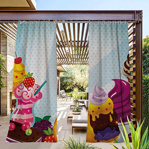 FOEYESEE Grommets Blackout Outdoor Curtain Yummy Menu with Chocolate Raspberry Cherry Orange and Strawberry Flavors Image Multicolor Perfect for Sliding Door/Foyer/Arbor/Lanai 84x84 Inch