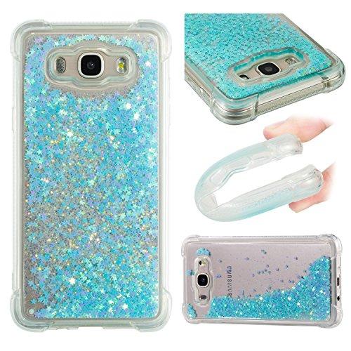 HopMore Funda Silicona para Samsung Galaxy J7 2016 (J710) Glitter Liquido 3D Brillante Purpurina Transparente Dibujo Carcasa Resistente Antigolpes Caso Protección para Chicas Mujer - Estrella Azul