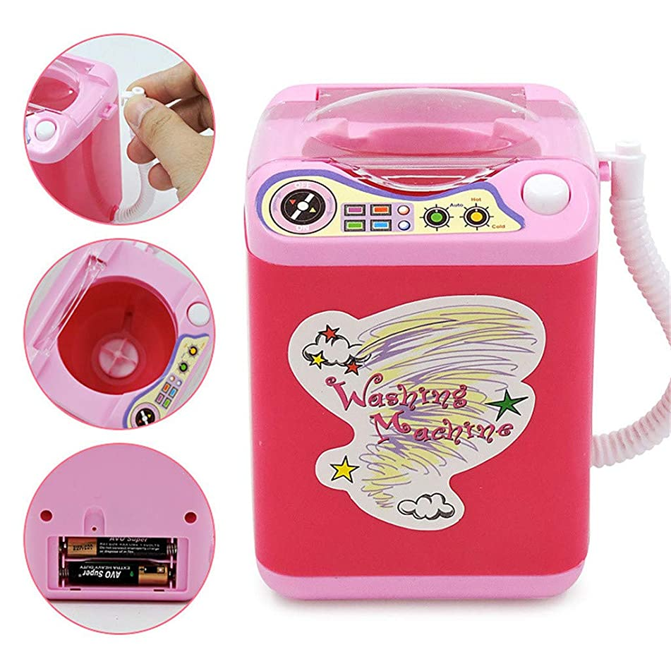 Hot Sale!Makeup Brush Cleaner Device Beauty Cosmetic Cleaning Washing Machine Mini Toy (Pink)