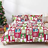 KOMEX Christmas Duvet Cover Set 3 Pieces (2 Pillowcase,1 Duvet Cover) Bedding Sets Winter Snowman Snowflake Pattern Microfiber Soft Comforter Cover with Zipper Closure and Corner Ties King(104'x90')