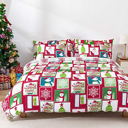 KOMEX Christmas Duvet Cover Set 3 Pieces (1 Pillowcase,1 Duvet Cover) Bedding Sets Winter Snowman Snowflake Pattern Microfiber Soft Comforter Cover with Zipper Closure and Corner Ties Twin(68'x90')