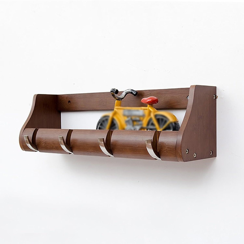 LXLA- Shelf Hangers Coat Rack Hook Up Storage Wood Bamboo Wall-mounted Brown (Available 2,3,4,5,6 Hooks, 25.2 38 51 63 76.5  13.5  14.5 cm) ( Size   4 hooks )