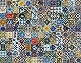 130 Mattonelle MISTE in ceramica smaltata. Pacco speciale di 130 mattonelle decorate 10 X 10 cm spessore 0,6 cm - Mattonelle Tunisine realizzate con Serigrafia Artigianale. Adatte a rivestimento.