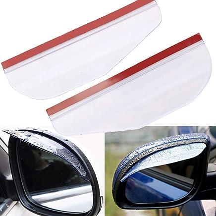 C-FUNN 2Pcs Flexible PVC Coche Retrovisor Espejo Rain Shield Guard Impermeable Ceja Blanca Universal
