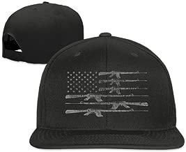 TMD YOUNG-CAP Big American Flag With Machine Guns 2A Flag Plain Adjustable Snapback Hats Caps Flat Bill Visor